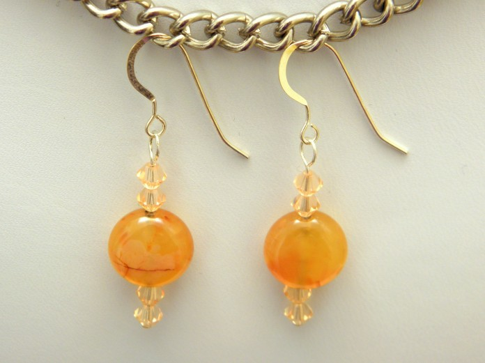 "Carnelian ""Coins"", Swarovski Bicones & Sterling Silver Fish Hook Ear Wires"