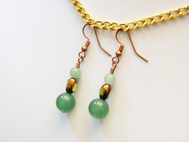 Light & Dark Green Aventurine Beads, Foiled Glass Brads, Copper Fish Hook Ear Wires