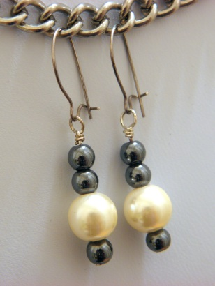 Hematite & Glass Pearl Earrings