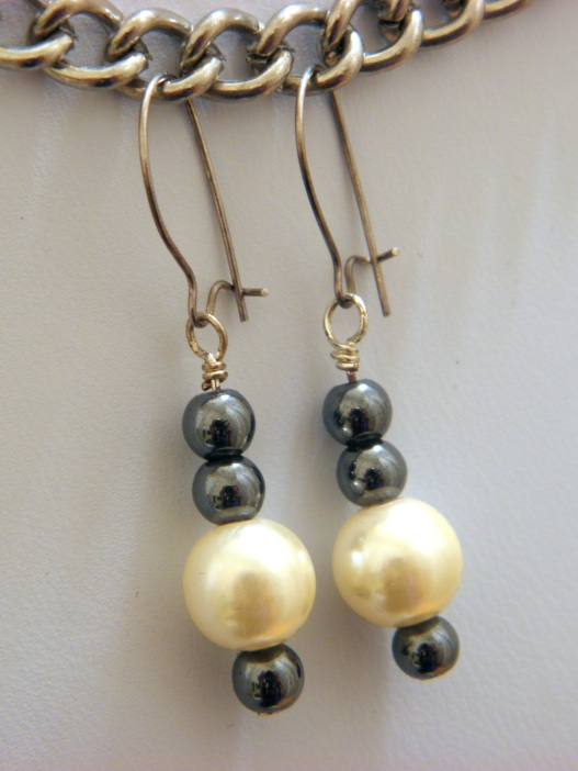 Hematite & Glass Pearl Earrings